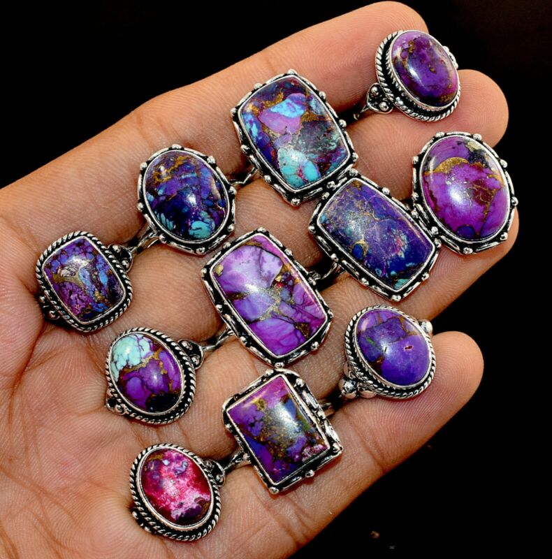 20 Pcs. New Lot Natural Purple Copper Turquoise 925 Silver Plated Rings Jewelry