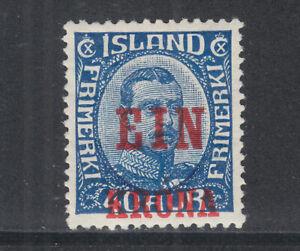 Iceland-Sc-150-MOG-1926-1k-red-surcharge-on-40a-blue-King-HR-sound
