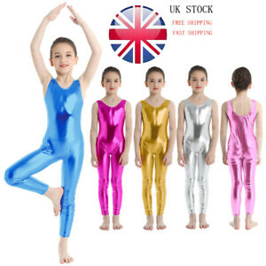 Girls Kids Shiny Metallic Tank Tops Gymnastic Hoodie Leotards Ballet Dancewear