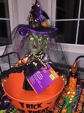 Halloween Animated Witch Candy Bowl Remade w/ A. Henry Candy Corn Factory Fabric