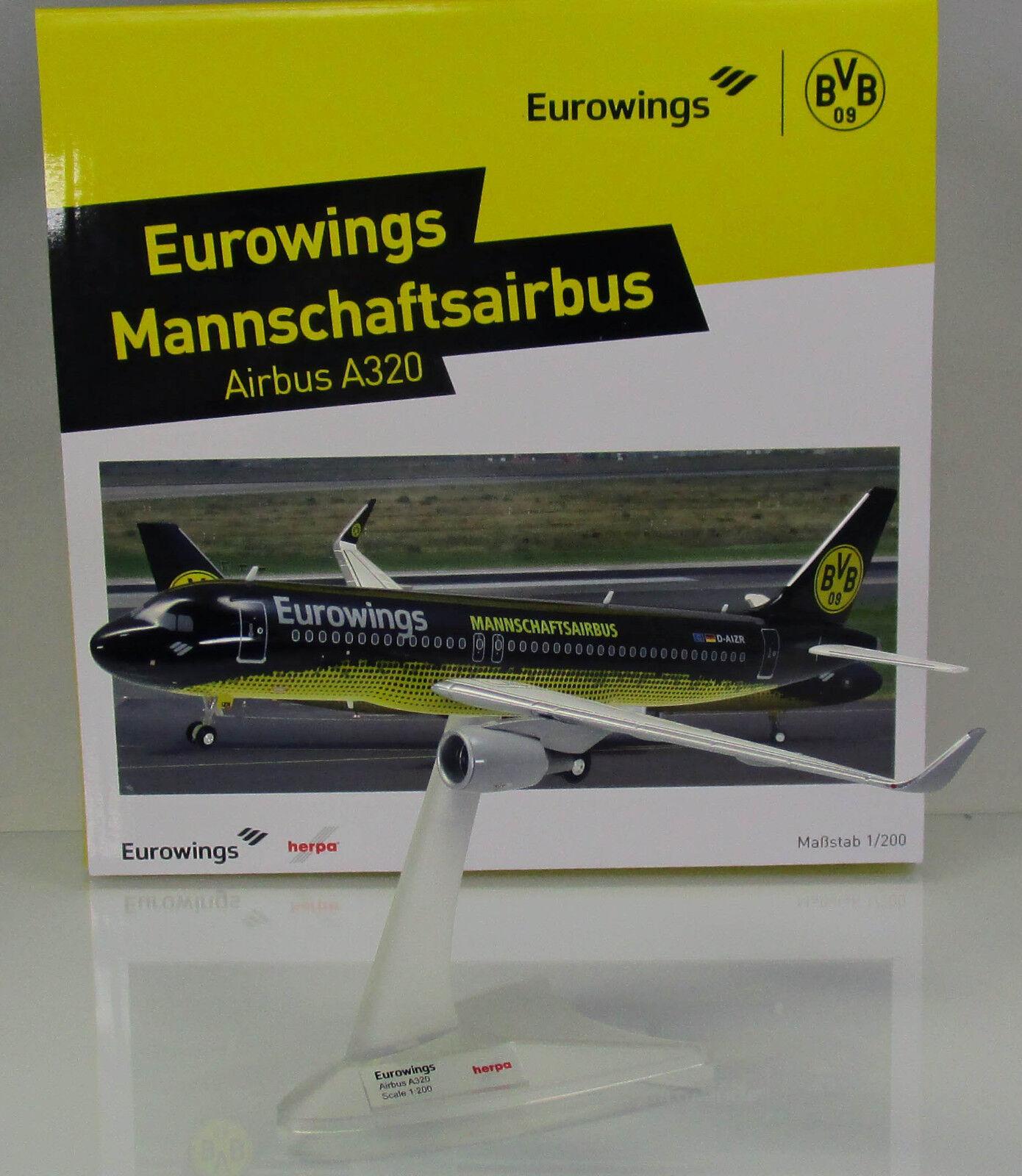 Herpa Wings 558167 Eurowings airbus a320 BVB Dortmund mannschaftsairbus nuevo