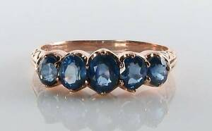 CLASS-9K-9CT-ROSE-GOLD-BLUE-SAPPHIRE-ETERNITY-ART-DECO-INS-RING-FREE-RESIZE