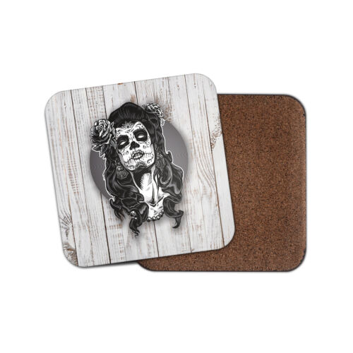 Sugar Skull Girl Drinks Coaster Mat Square liège soutenu Thé Café #0110