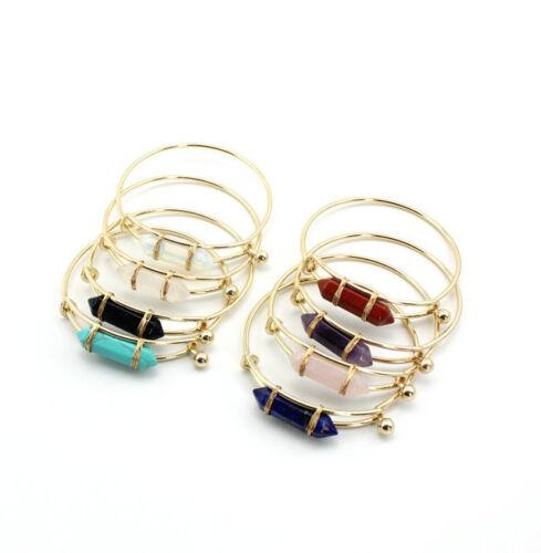NOUVEAU 4 couleurs classique pierre naturelle laiton Bracelets Bangle SZ0345
