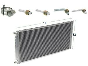 """A//C AC Universal Condenser 12/"""" X 21/"""" Parallel High Flow O-ring #6 /& #8"""