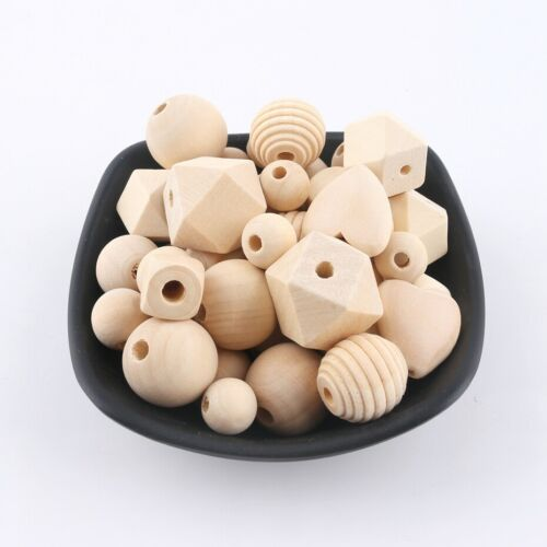 45Pcs Natural Wood Geometric Spiral Teether Loose Beads DIY Baby Chew Necklace