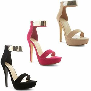 Ladies-Womens-High-Heel-Platform-Ankle-Cuff-Open-Toe-Sandals-Shoes-Size-UK-3-8