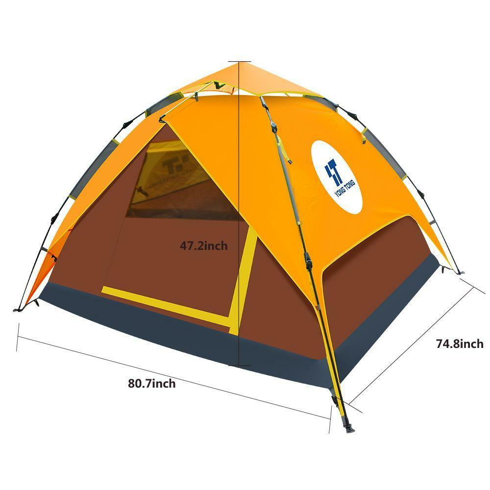 Orange/Braun Orange/Braun Orange/Braun Double layer Easy-to-use Auto Pop-up Camping Tent for 3-4 Person 16c31b