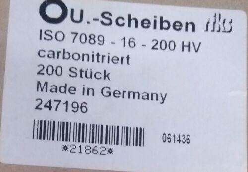 Unterlegscheibe M16 nach ISO 7089 Beilagscheiben Stahl carbonitriert 17x30x2,8