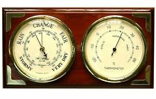 Mahogany Brass Finish Plaque Weather Center Barometer Thermometer