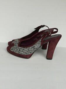 Coach-Lorilee-Peep-toe-Tweed-Platform-Slingback-Heels-Size-6-5B-Made-in-Italy