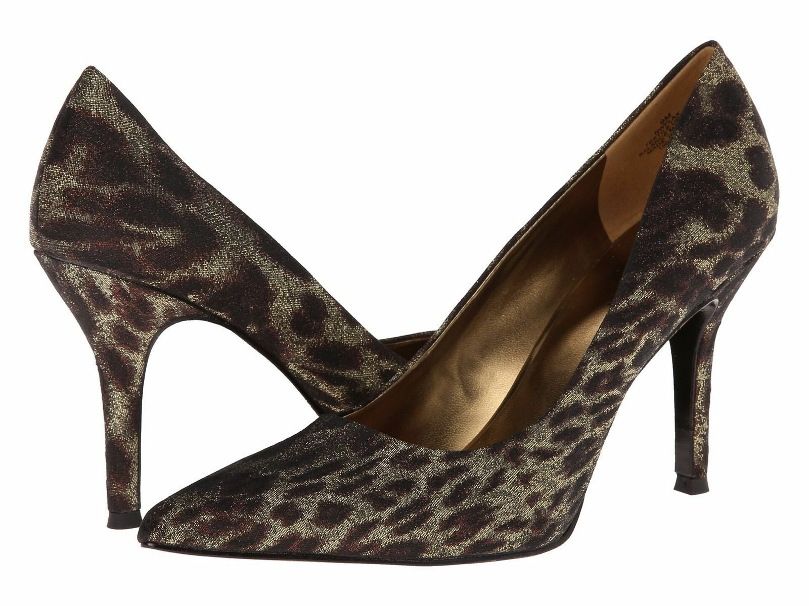 Nine West Flax Bronze Gold Animal Classics Heal Pointy Toe Pump Schuhes 7 M USA