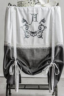 Anna Grigio Ricamato Roman 160x120 French Romanticismo Tenda Raff Tenda Shabby-