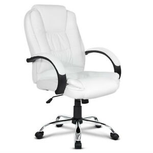 Details About Pu Leather Padded Office Desk Computer Chair White