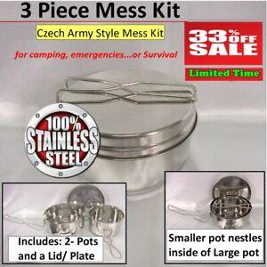 Stainless Camping Mess Kit Cookware Set - 2 pots & Plate bonus FireDisK/Ferro