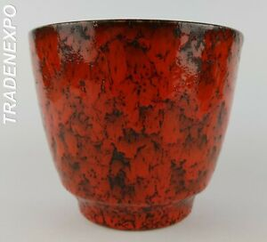 Vintage-60-70-ES-KERAMIK-Red-Planter-Flower-Pot-West-German-Pottery-Fat-Lava