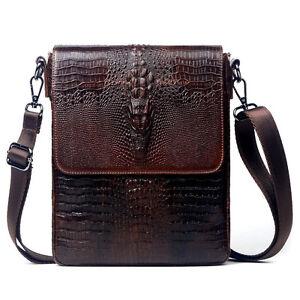 Men-Leather-Crocodile-Texture-Travel-Hike-Bag-Crossbody-Shoulder-Messenger-Pack