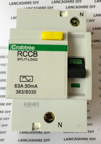 Crabtree Starbreaker 63A RCCB Split-Load 63A 30mA 363//S030 Bottom Pin Type 1