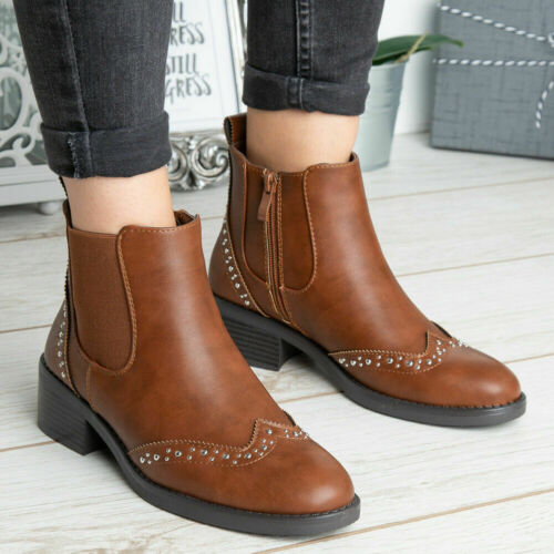 Womens Ankle Chelsea Boots Ladies Winter Casual Zip Comfy Heel Warm Work Shoes