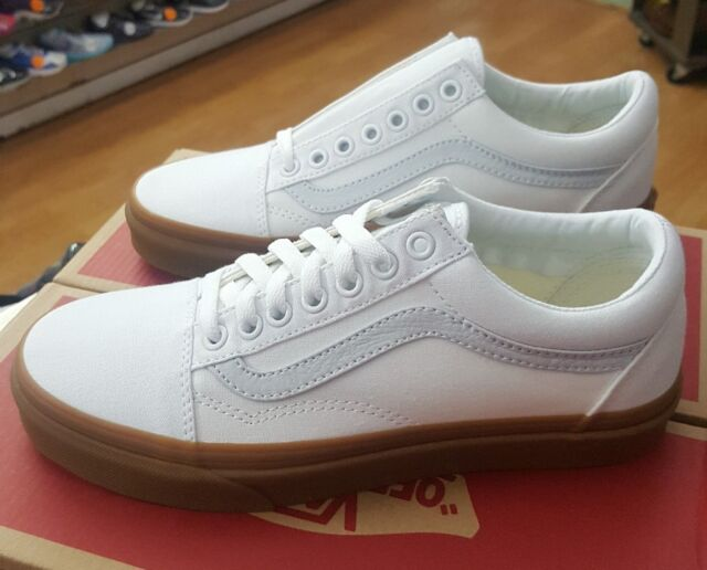 VANS Mens Old Skool Canvas Gum True White Skate Shoes Size 11 ... 50b99a41a