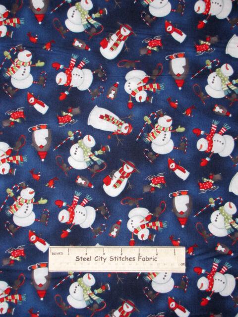 Studio E Chilly Silly Snowmates Snowmen Toss Christmas Blue Cotton Fabric YARD