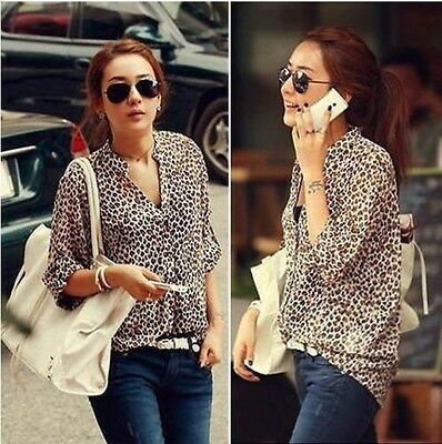 Women Korean Fashion Sexy Leopard Tin Chiffon Long Sleeve Shirt Top Blouse Hot