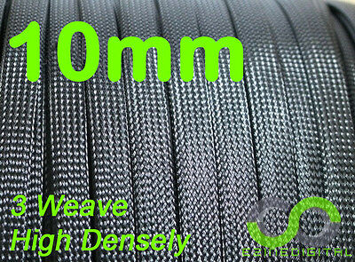 10mm x 5m BLACK Expandable Braided DENSE PET Cable Sleeving High Density 3 Weave
