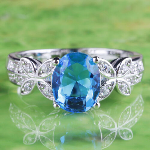 Oval Cut Blue /& White Topaz Gemstone Silver Ring Taille 7 8 9 10 Estate Jewelry