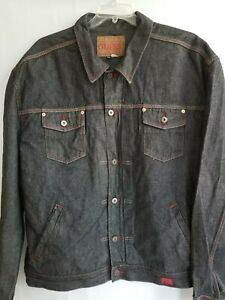 Guess USA Vintage Mens Trucker Jacket Black Denim Red Stitch Button Pockets 4XL