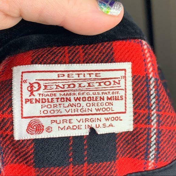 Pendleton | Vintage Red Plaid Blazer Velvet Trim - image 7