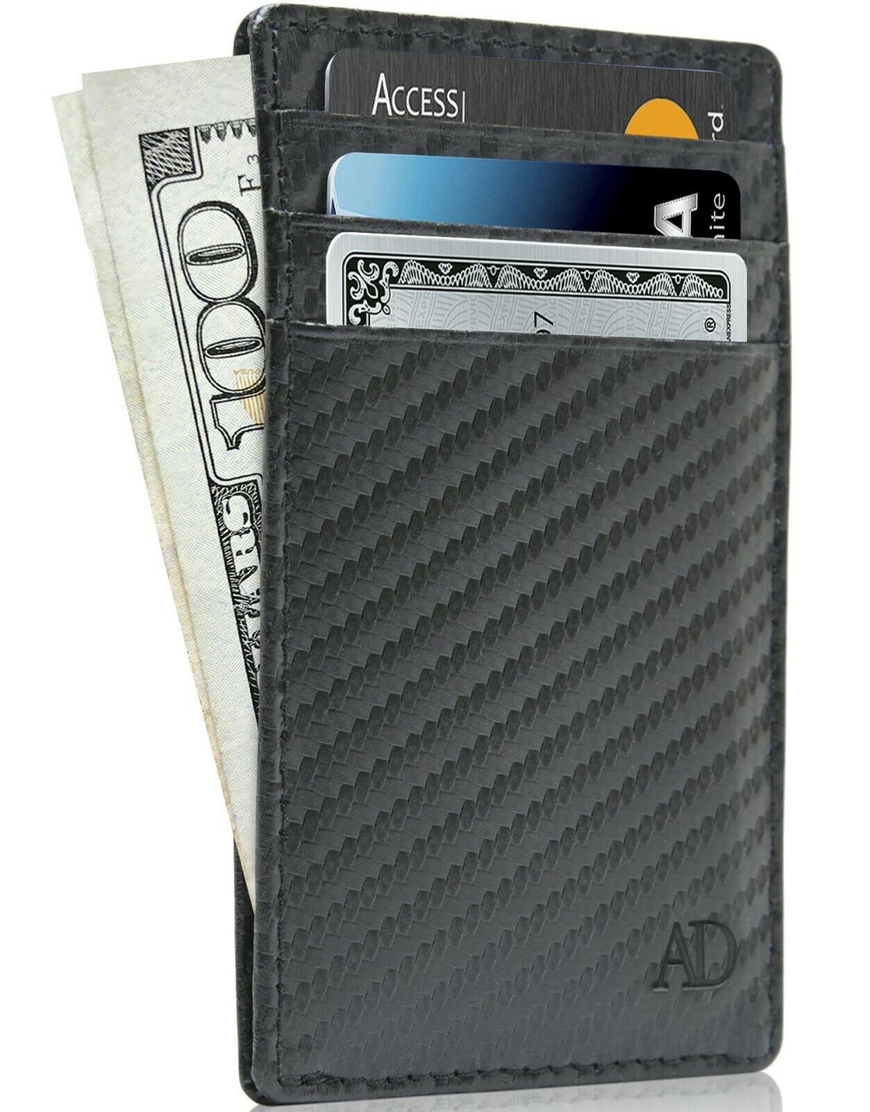 New Real Leather Slim Card Holder Wallets For Men & Women RFID Blocking