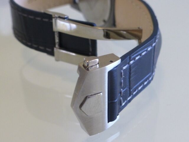 22mm for Tag Heuer Royal Blue Grey Stitching Band Strap with Deployment  Clasp 230277038fff