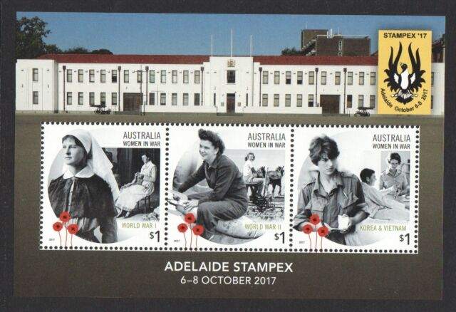 AUSTRALIA 2017 WOMEN IN WAR ADELAIDE STAMPEX SOUVENIR SHEET OF 3 STAMPS IN MINT