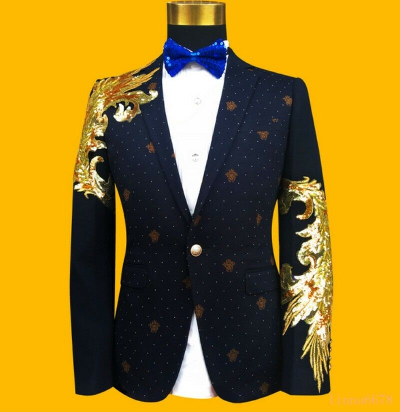 Weding Men's Coats Slim Fit Sequin Bling Bling Western-style Fashion Clothes Hot