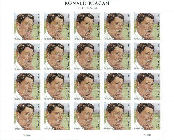 2011 44c Ronald Reagan, 40th President, Sheet of 20 Sco