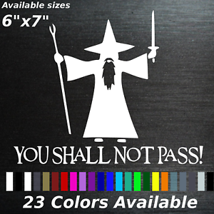you shal not pass decal sticker gandalf LOTR wizard