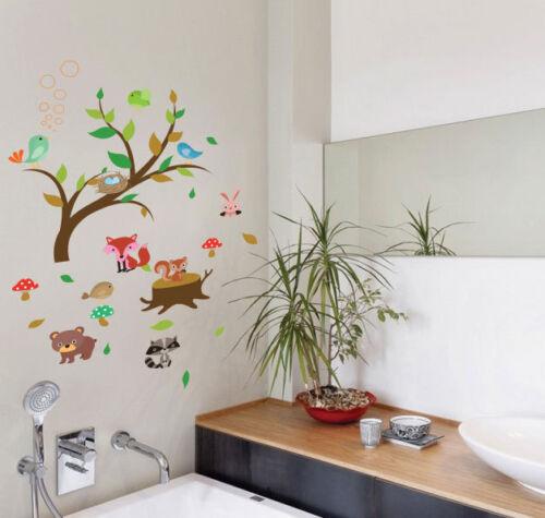 Arbre Oiseaux Nurserie animale jungle Enfants Maternelle Art Wall Stickers Wall Decals