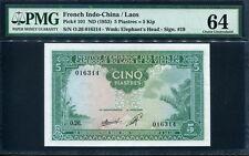 French Indo-China 1953, 5 Piastres ( 5 Kip), P101,PMG 64 UNC