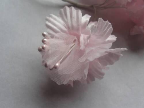 40mm en tissu rose pâle fleurs Craft Avec Pearl Stamen-Bouquet de 6