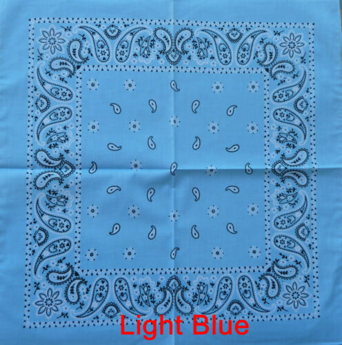 Cotton Paisley Bandanas llight blue 55cm x 55cm Duraghead wrap. FREE Post