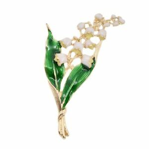 Trendy-Legierung-Emaille-Weiss-Floral-Leaf-Brosche-Maigloeckchen-Gold-Farbe-B-1I