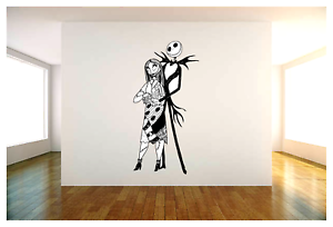 """Jack Skellington and Sally Vinyl Wall Decal Sticker 22/""""x44/"""" Choice of Color"""
