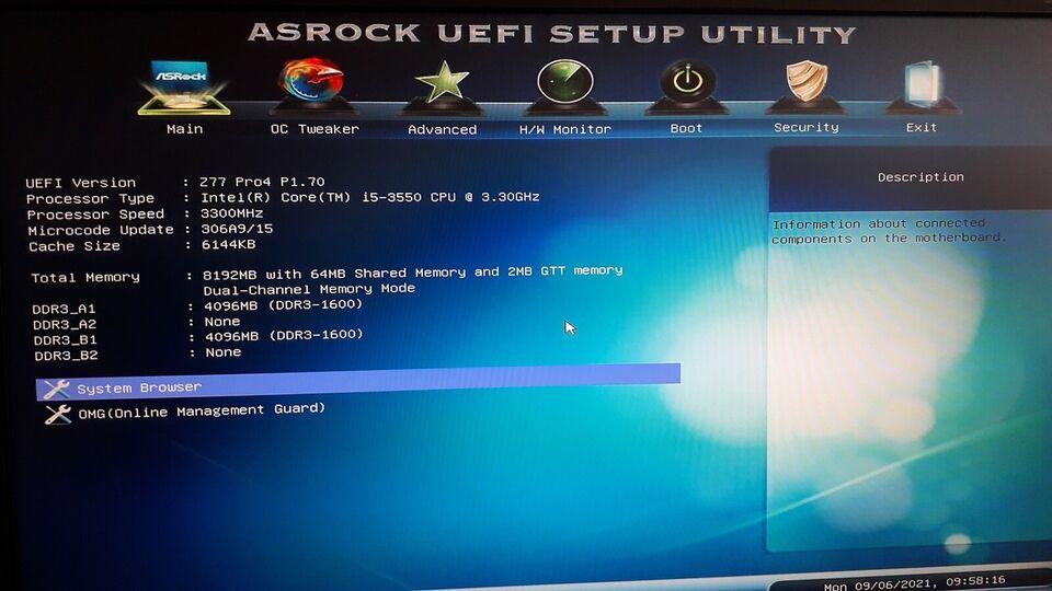 Selvbyg, i5-3550 Ghz, 8GB GB ram
