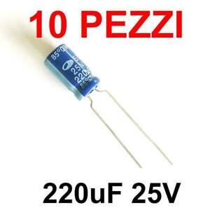 10 pezzi Condensatore Elettrolitico 220uF 25V 85° 7x12mm SAMWHA