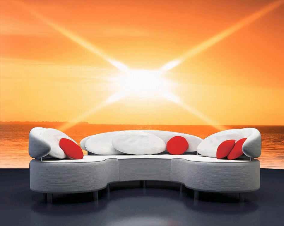 3D Orange sunrise 1 WallPaper Murals Wall Print Decal Wall Deco AJ WALLPAPER