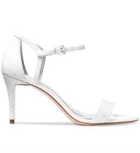 8da7f4d6017f New Michael Kors MK Simone Mid Sandal Optic White Glitter Fabric ...