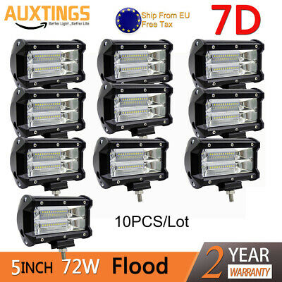 10Pcs 7D 5inch 72W LED Work Light Bar Flood Off road SUV Amber Driving Fog Lamp
