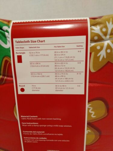 Christmas Ginger Bread Man /& House Candy Cane  PEVA Tablecloth 60X102  Red
