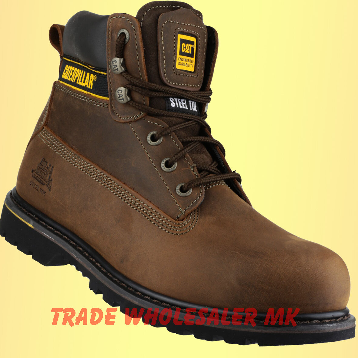 CATERPILLAR HOLTON BROWN STEEL TOE CAP SAFETY WORK BOOTS sizes 7,8,9,10,11,12