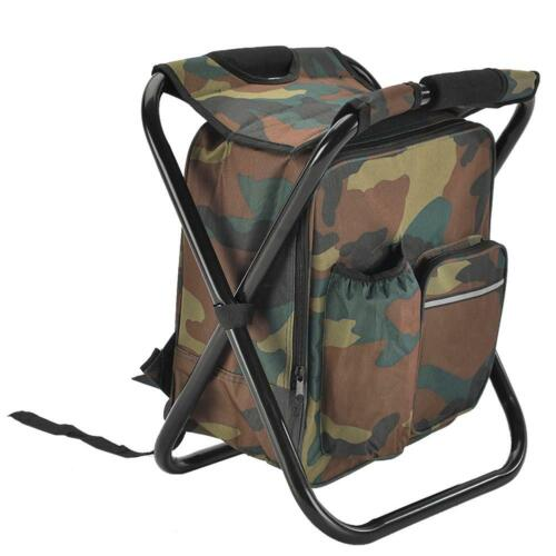 Outdoor Folding Camping Fishing Chair Stool Portable Backpack Seat Table Bag